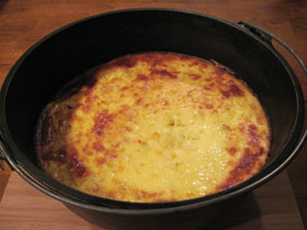 Corn pudding In a Dutch oven